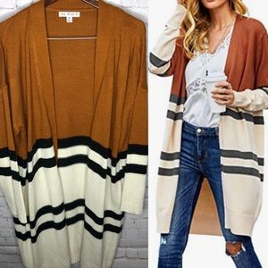 SayWhat Mustard Colorblock Striped Duster Cardigan